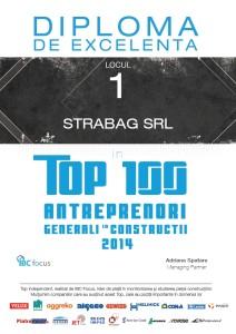 Diploma de excelenta - Strabag (Top 100 Antreprenori Generali)