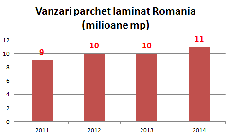 Vanzarile de parchet laminat in Romania au crescut cu 1 milion de mp fata de anul precedent